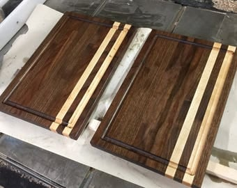 17x 12 Walnut and Maple Cutting Board with Juice Groove