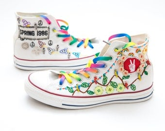 Converse Sneakers Custom Mens High Tops Stylish Crazy Funky Hand Stitched Embroidery, Buttons, Trinkets and Patches