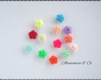 Set of 26 in all colors resin flower cabochons