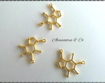 Set of 3 MOLECULE gold charms