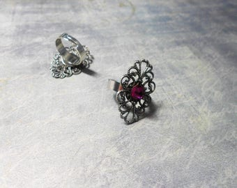 Adjustable ring - with marquise shaped scrolls stamp - fuchsia and silver Crystal