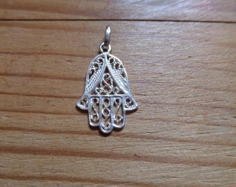 Silver hand of Fatima or Hamsa pendant