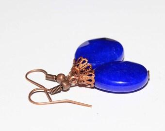 Jade color lapis lazuli earrings