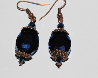 Midnight blue glass beads earrings