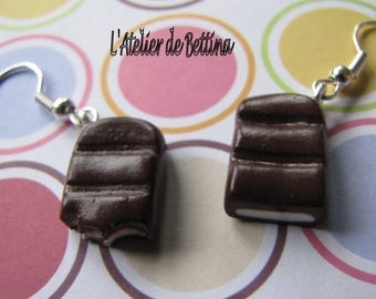 White chocolate filled chocolate bar earrings