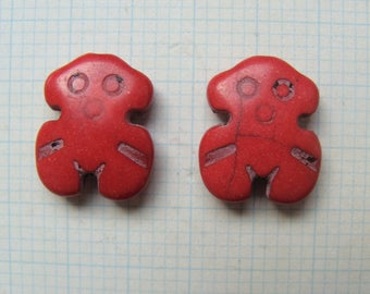 Set of 2 red pattern howlite beads 20x15mm snowman