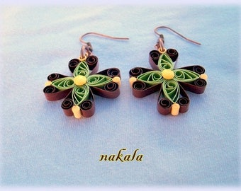 unique cross with varnished paper earrings