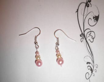 00544 - Pink and champagne Pearl Earrings