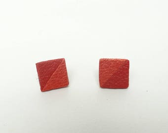 Stud Earrings geometric leather 2 red and orange triangles