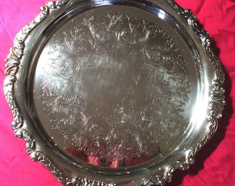"Vintage 12 1/2""  Sheridan ""Taunton"" Silver Plated Serving Platter, 4 Available.(BUY ALL 4, for 100.00)"