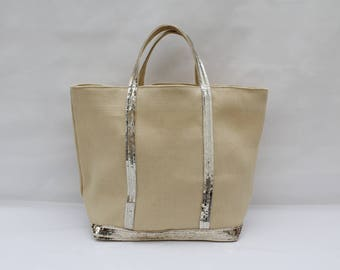 The bag in 100% linen very clear beige-yellow-gold