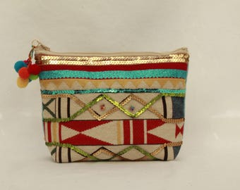 NEW! Ethnic makeup of cotton with Peruvian style patterns, glitter and the tassel for