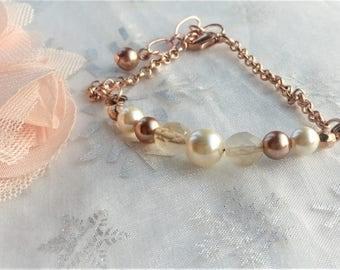 rose gold bracelet gold and ivory Swarovski Crystal Pearl Czech glass bead