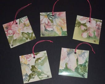 "Illustrated tags - signed original artwork - ""Flowers"""