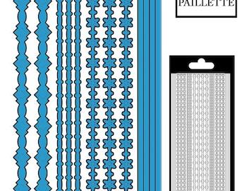 Decal border lines/flowers - blue large glitter - STI13990DTU