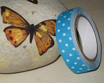 Background white polka dots pattern cotton duct tape Blue 1.5 cm (3 meters)