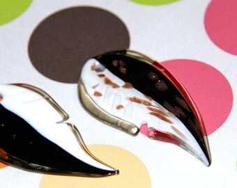 Leaf pendant black white and gold Murano style glass