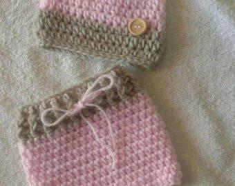 Ready to ship baby girl newborn hat and short set baby shower gift newborn crochet beanie newborn crochet shorts