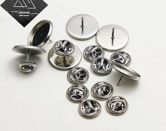 50pcs Surgical Stainless Steel Lapel Pin-Brooch-Tie Tack Blank Pins-Pin and Brooch-Blank Tie Tack Bezel Blank Pin Back Brooch,N size