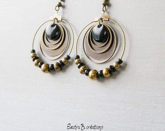 Black and bronze Bohemian hoops in precious stones, enamel and brass