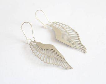 Dangle earrings filigree wings charms