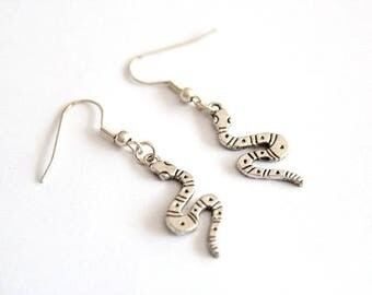 Silver plated Snake earrings