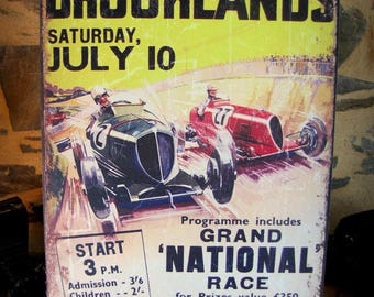 plated metal reproduction poster vintage auto brooklands race