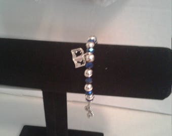 Blue and silver  rap charm bracelet