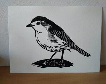 vogeltje, small bird, linocut print, linosnede