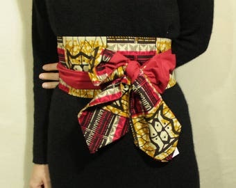 Obi belt in wax and cotton-Maasai fabric