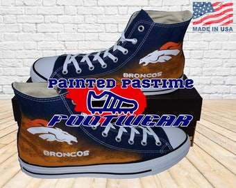 Denver Broncos - Converse Shoes - Hand Painted - Hi Tops