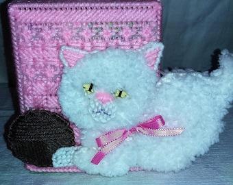 Kleenex Box Cover - Pink Box Fluffly Kitten w Yarn (Kleenex Included)