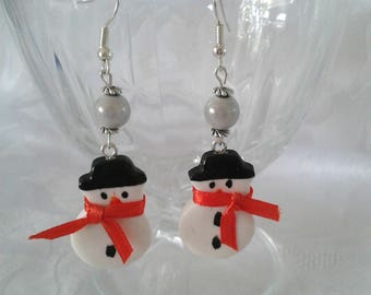 Snowman earrings, Christmas