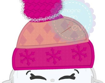 Shopkins Beanie Inspired machine embroidery applique design Instant Download 4x4 5x7 6x10