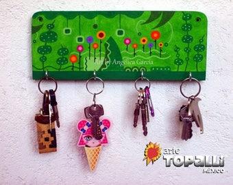 Key holder, Key hanger, Acrylic on wood, Home decoration. Keys, wall decoration, abstract landscape painted acrylic holder