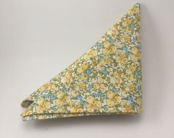 Blue and Yellow Floral Pattern Pocket Square