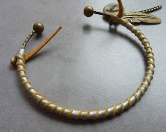 Champagne leather SNAKE Bangle Bracelet