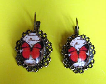 vintage red butterfly earrings