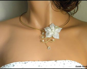 Camille white Crystal bridal necklace gold plated aluminum Pearl bridal silk flower Bridal