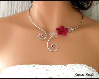Necklace Burgundy silk flower bridal Irina aluminium silver Pearl wedding
