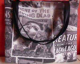 tote bag, retro / vintage black and white horror movie posters