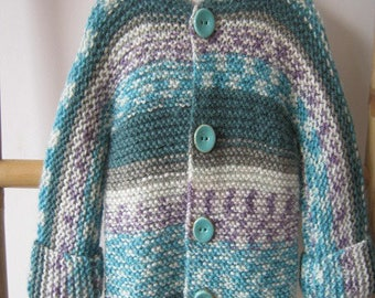 Turquoise and white mottled baby hooded coat