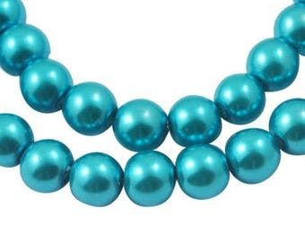 Set of 500 renaissance Pearly Turquoise 6 mm - blue glass beads-