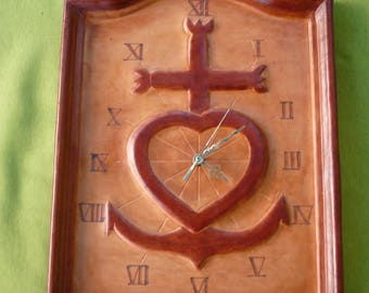 """""""The Camargue cross"""" clock leather molded and tooled glued on wood"""