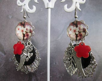 Earrings charms cherry blossom and leaf prints