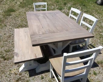 Trestle Style Kicthen Dining Room Table Can Add Benches And Chairs To Set & Picnic Table Style Dining Table - talentneeds.com -