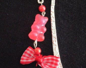 Silver Teddy bear bookmark pink / red