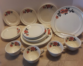 Hall China Red Poppy Radiance, 4 Person Brunch Set, Vintage