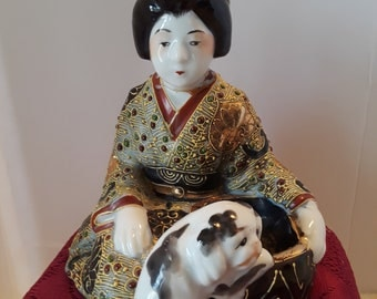 Sitting Robed Lady with Dog, Vintage Made in Japan