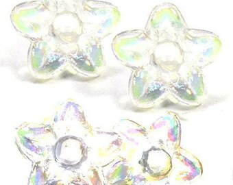 50pcs beads transparent flowers white bead acrylic plastic | cups flowers | about 10mm